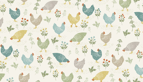 Coloured chickens on cream background